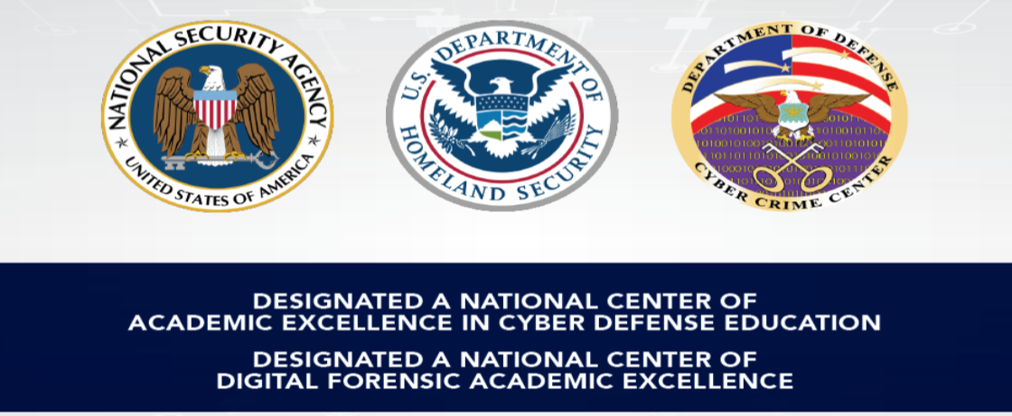 badge logos of the United States' National Security Agency (NSA), Department of Homeland Security and Department of Defense Cyber Crime Center