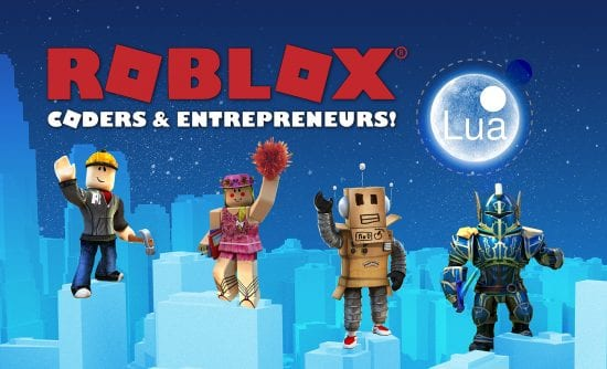 ROBLOX logo and characters