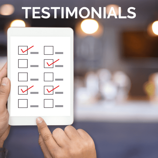 Person showing a survey to showcase our testimonials page