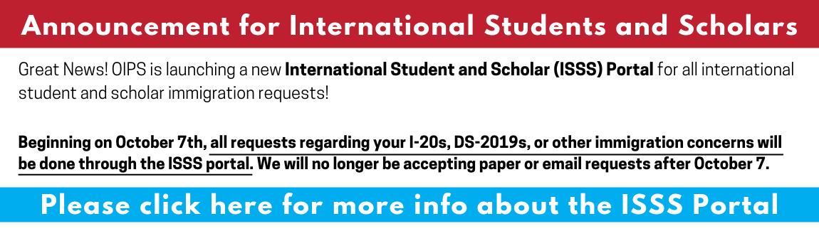 ISSS Portal Announcement