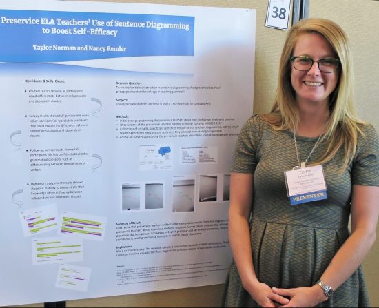 Past participant Taylor Norman presents the findings of her SoTL FLC project at the USG Teaching and Learning Conference.